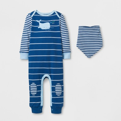Baby Boys' 2pc Whale Coverall Set Cloud Island™ - Navy 24M