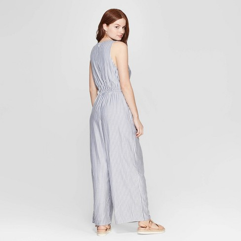 a5270392632 Women s Striped Sleeveless V-Neck Jumpsuit - A New Day™ White Blue ...