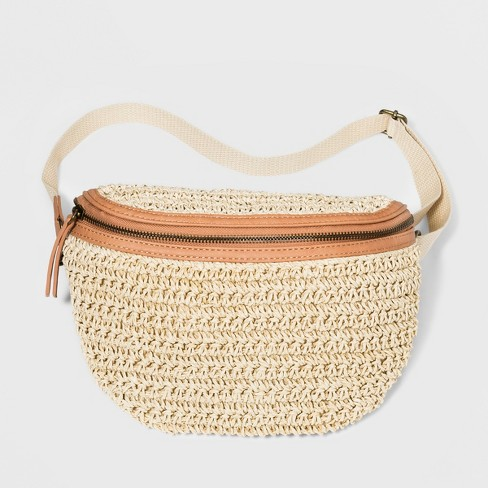 Women's Straw Fanny Pack - Universal Thread™ Natural - image 1 of 4