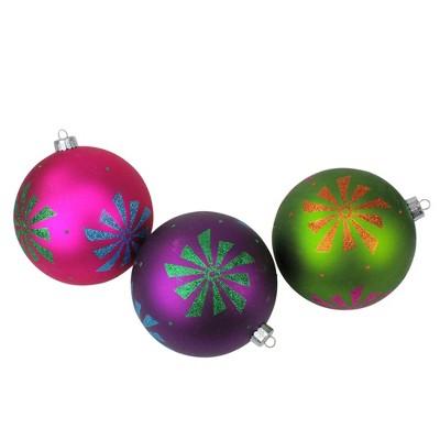 "Sterling 3ct Glitter Snowflake Shatterproof Christmas Ball Ornament Set 4.75"" - Green/Pink"