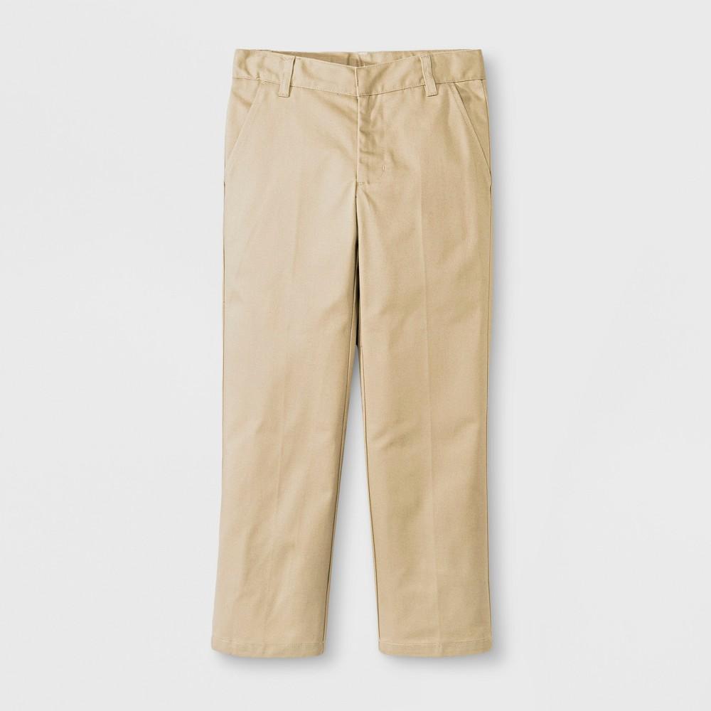 French Toast Boys' Double Knee Flat Front Pants - Khaki (Green) 10