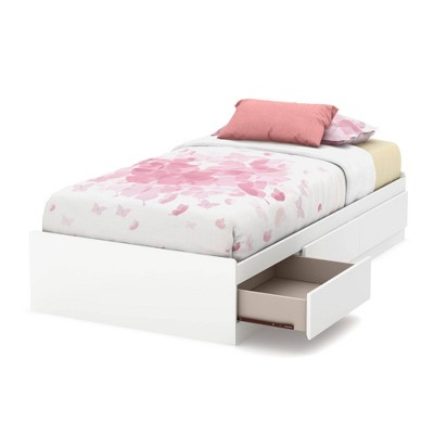 Twin Callesto Mates Bed with 3 Drawers   Pure White  - South Shore