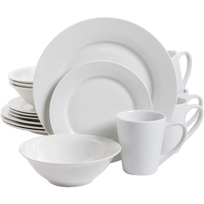 Gibson Home 102563.16RM Classic Porcelain Zen Buffet 16 Piece Round Dinnerware Set with Multi Sized Plates, Bowls, and Mugs, White