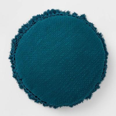 Round Crochet Throw Pillow Teal - Opalhouse™