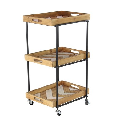 Natural Distressed Wood and Metal 3 Tier Rolling Cart Beige
