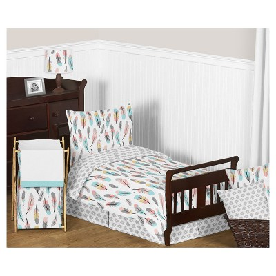 Gray & Coral Feather Bedding Set (Toddler) - Sweet Jojo Designs