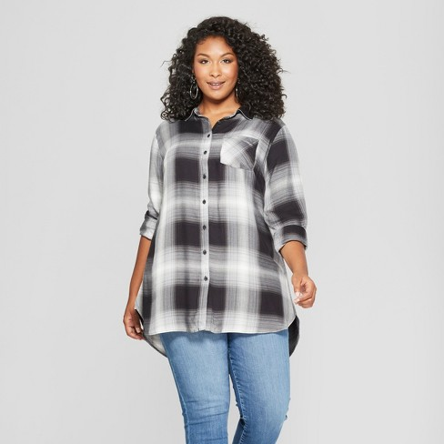 56be32e13 Women's Plus Size Plaid Long Sleeve Button-Down Tunic - Ava & Viv™ Black/ White : Target