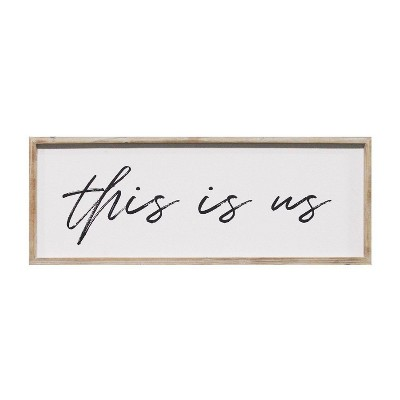 """32"""" x 12""""This is Us Oversized Wall Art Natural White - Stratton Home Décor"""