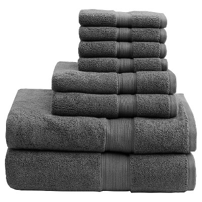 8pc Bath Towel Set Gray