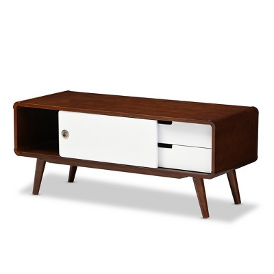 Armani Mid   Century Modern Two   Tone Finish 2   Drawer With Sliding Door  Wood TV Cabinet   White, Brown   Baxton Studio : Target