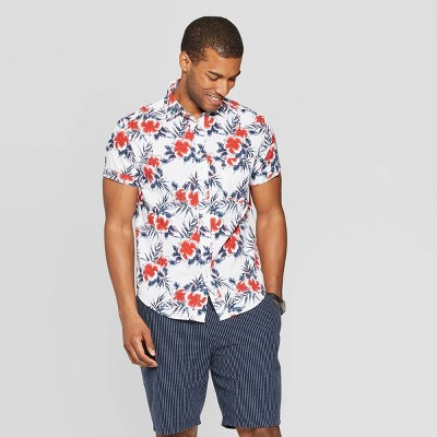 Men's Floral Print Short Sleeve Seersucker Button Down Shirt   Goodfellow & Co White by Down Shirt