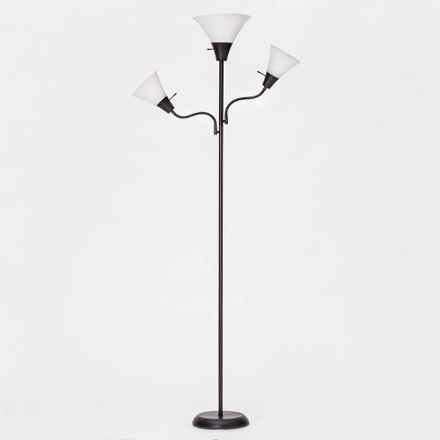 Torchiere With Two Task Lights Floor Lamp Black Includes Energy Efficient Light Bulb Room Essentials