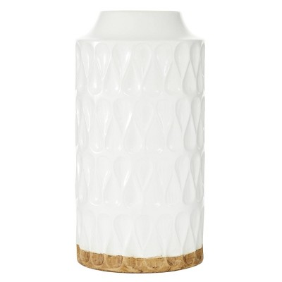 "16"" x 8"" Cylinder Ceramic Vase with Teardrop Pattern White - Olivia & May"