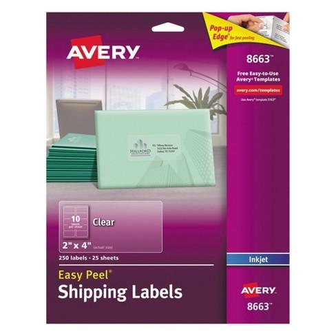 avery 08663 clear easy peel mailing labels inkjet 2 x 4 250pk