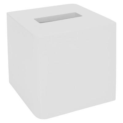 Lacquer Tissue Holder White - Cassadecor