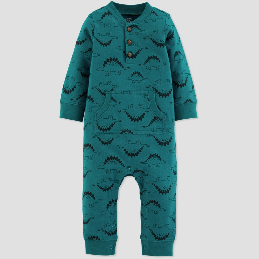 Baby Boys' 1pc Dino Jumpsuit - Just One You made by carter's Emerald 18M, Blue