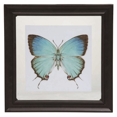 Transpac Glass 11 in. Multicolor Spring Floating Frame Butterfly Display