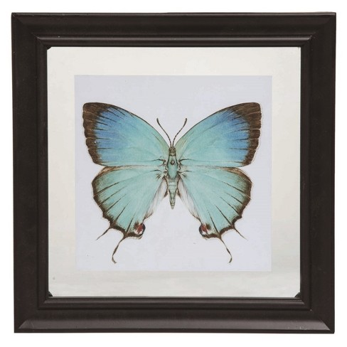 Transpac Glass 11 in. Multicolor Spring Floating Frame Butterfly Display - image 1 of 1