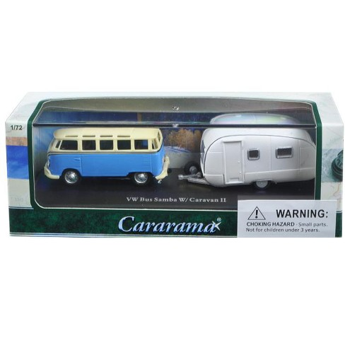 Volkswagen Bus Samba Blue With Caravan Ii Trailer In Display Showcase 1 72 Cast Car Model By Cararama Target