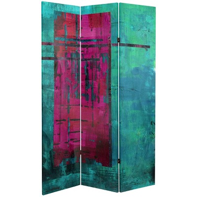 """6"""" Double Sided Canvas Room Divider Turquoise/Magenta - Oriental Furniture"""