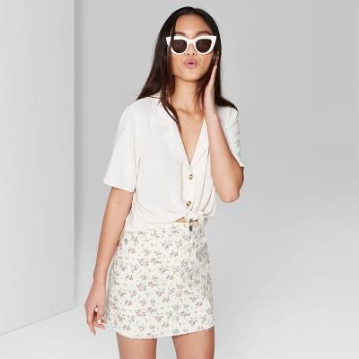 Women's Short Sleeve Button Up Linen Camp Shirt   Wild Fable Ivory by Up Linen Camp Shirt