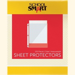 School Smart Polypropylene Heavyweight Reinforced Sheet Protector, Top Loading, Clear, pk of 100