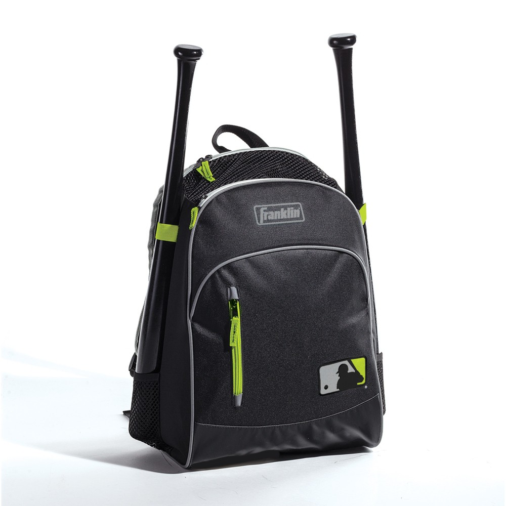 "Franklin Sports 19.25"" Sports Backpack - Black/Green, Kids Unisex, Size: Small, MultiColored"