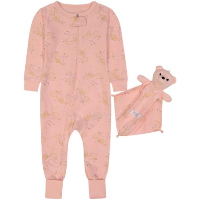 Sleep On It Infant Girls Zip-Front Unicorn Onesie