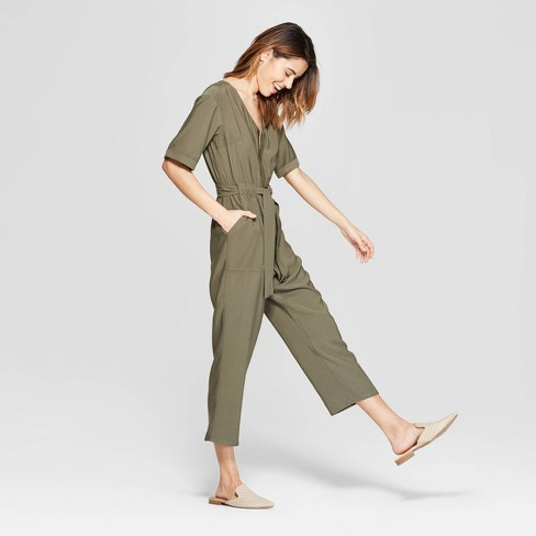 d7067b490c1 Women s Short Sleeve V-Neck Utility Jumpsuit - A New Day™ Olive   Target