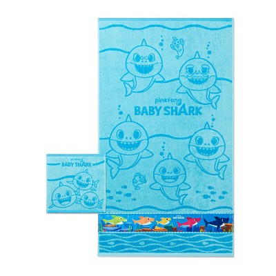 2pc Baby Shark Finding Fun Bath Towel and Washcloth Set