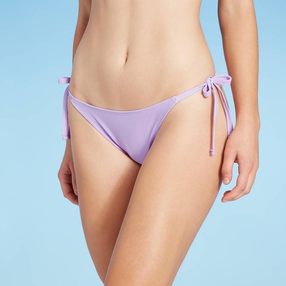 Women 39 S Side Tie Cheeky Bikini Bottom Shade 38 Shore 8482 Violet Purple M