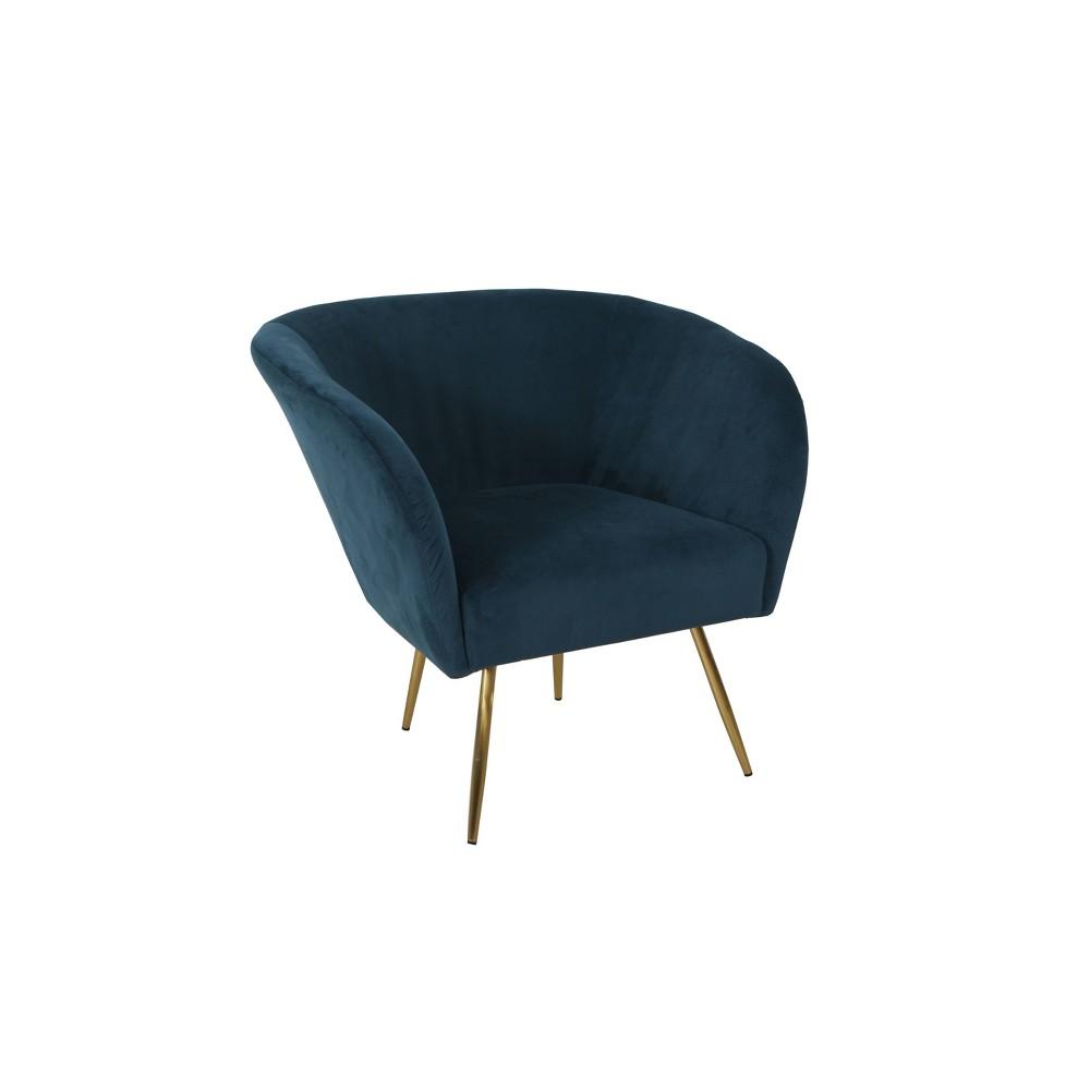 Ashby Accent Chair Textured Velvet Navy (Blue) - HomePop