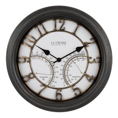 """20"""" Indoor/Outdoor Courtyard Wall Clock Bronze - La Crosse Technology"""