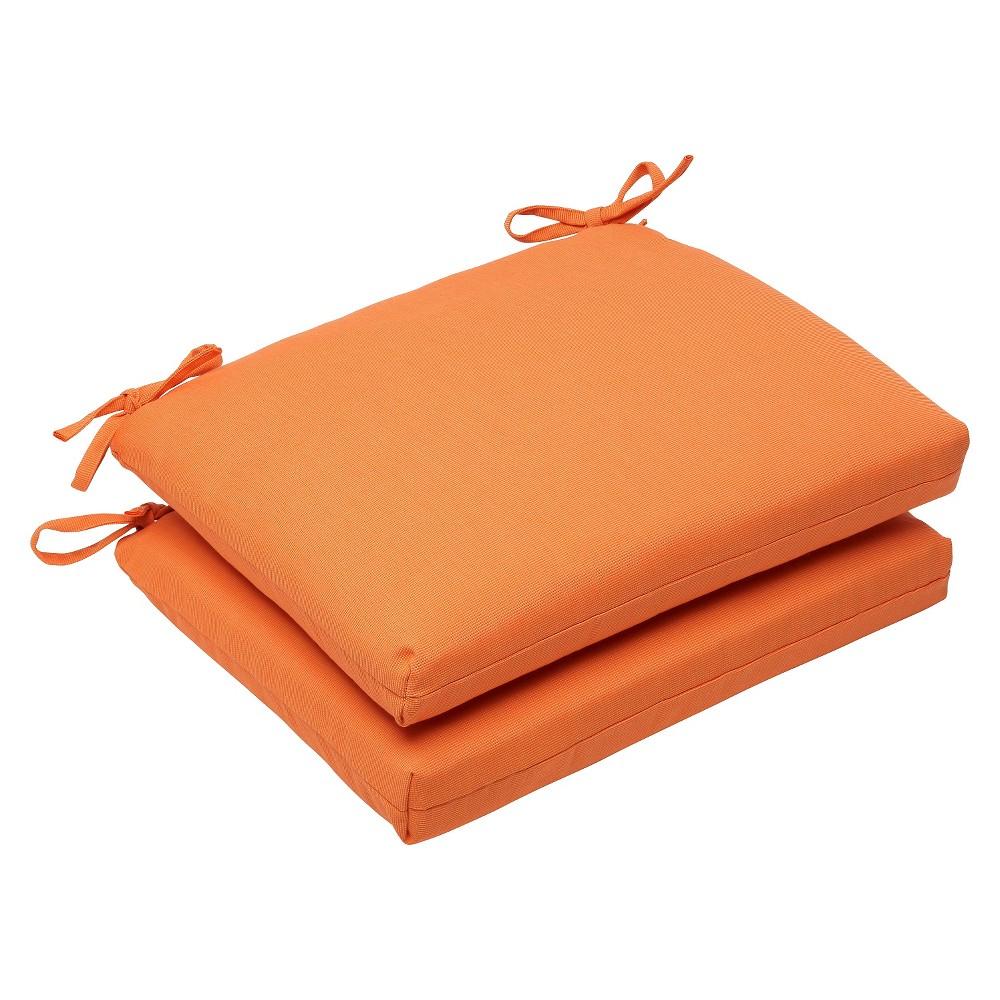 2pc Squared Edge Seat Cushion Set - Orange - Sunbrella