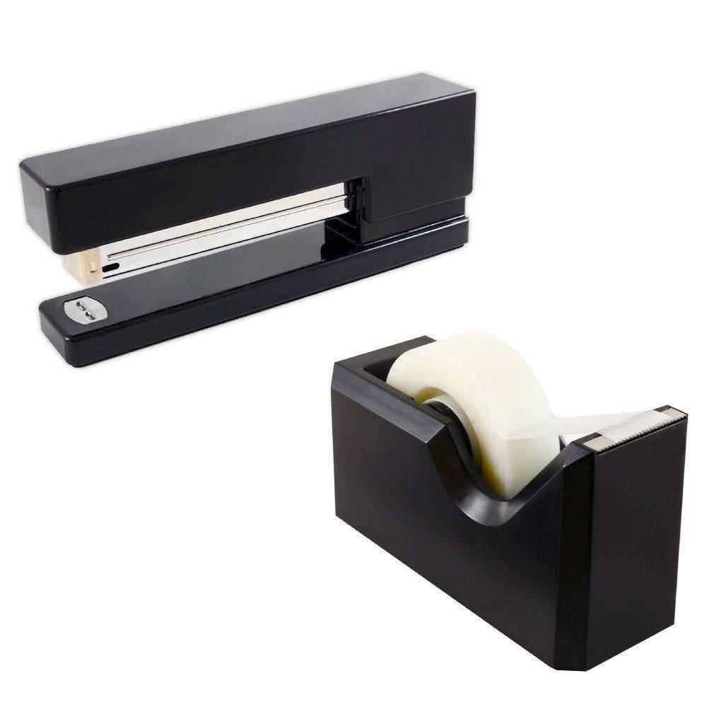 Jam Paper Stapler 38 Tape Dispenser Desk Set Black