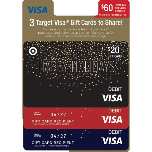 Visa Multipack (3 $20 Gift Cards) + $8.50 Fee - image 1 of 1