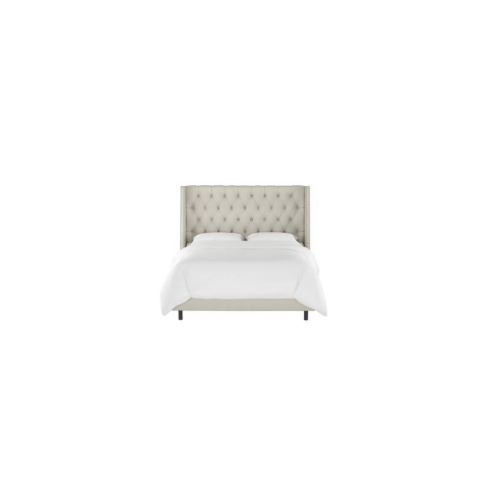 California King Diamond Tufted Wingback Bed Dove Gray Velvet With Pewter Nail Buttons Skyline Furniture