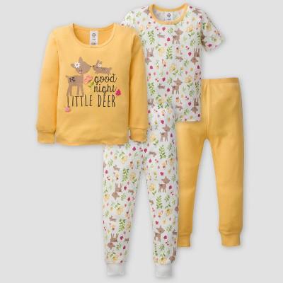 Gerber Toddler Girls' 4pc Deer Pajama Set - Yellow