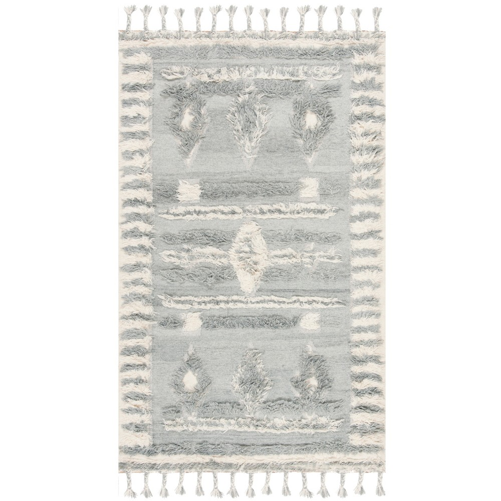6'X9' Tribal Design Knotted Area Rug Gray/Ivory - Safavieh