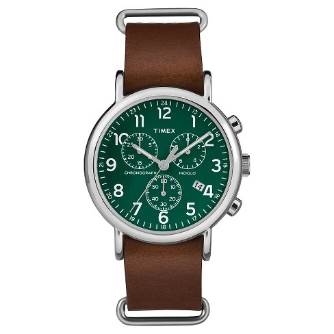 Timex Weekender™ Slip Thru Leather Strap Chronograph Watch - Brown/Green TW2P97400JT - image 1 of 3