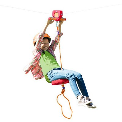HearthSong - Red Backyard Zipline Kit for Kids Outdoor Play, 80' L