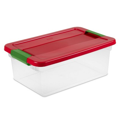 Sterilite 15qt Latching Clear Storage Box Red Lid and Green Latch