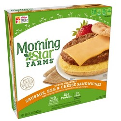 MorningStar Farms Veggie Sausage Egg Cheese Breakfast Frozen Sandwich - 14.8oz