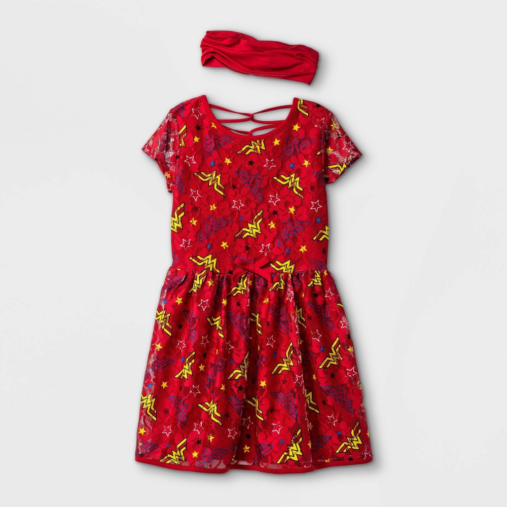 Girls 39 Wonder Woman A Line Dress With Headwrap Red Xs
