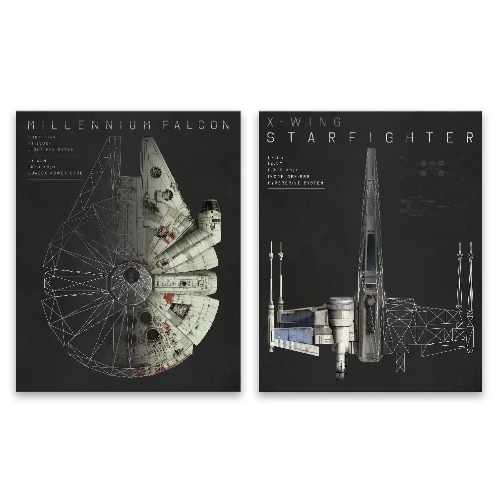 "Image of ""Star Wars 20""""x16"""" 2pc Falcon Wall Art"""