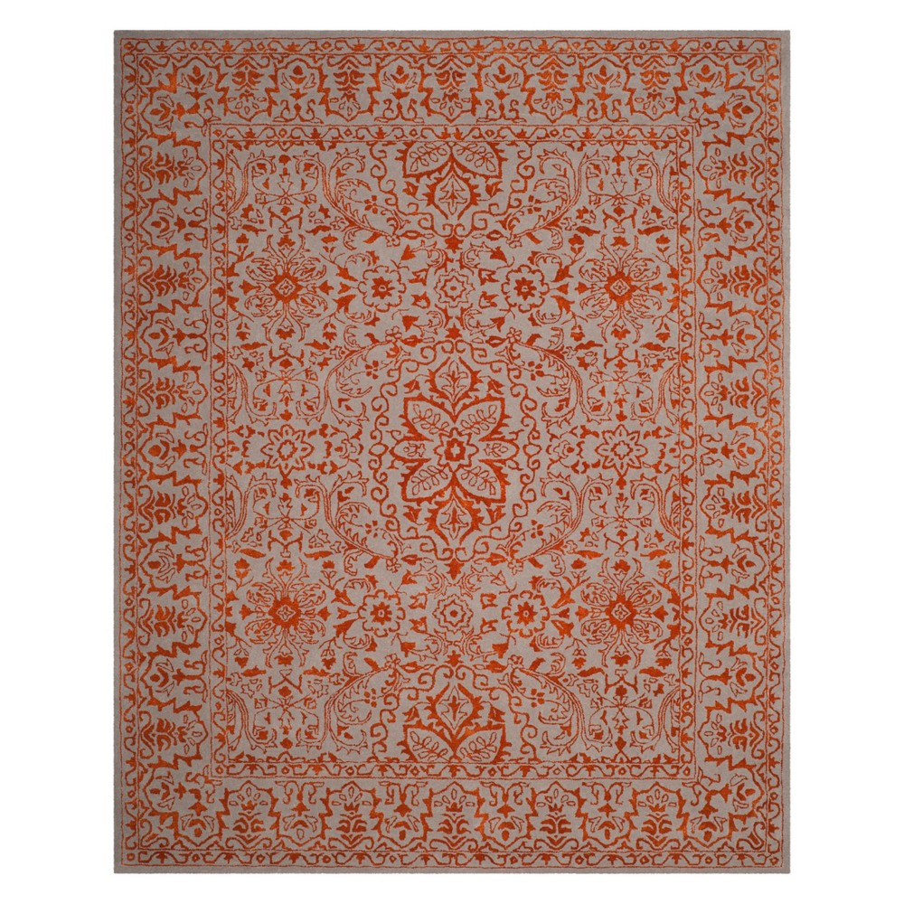 8'X10' Floral Area Rug Gray/Rust (Gray/Red) - Safavieh