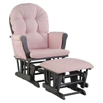 Stork Craft Hoop Gray Glider and Ottoman - Pink Blush Swirl
