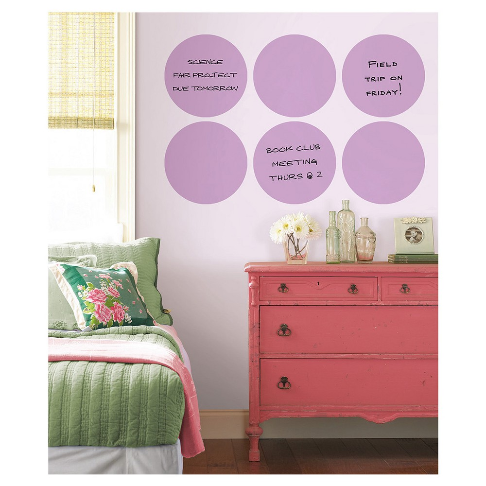 Wall Pops! Dry Erase Board Circle Decals 13 6ct - Purple