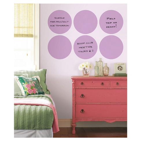"""Wall Pops!  Dry Erase Board Circle Decals 13"""" 6ct - Purple - image 1 of 3"""