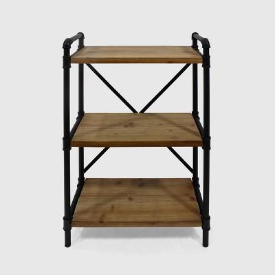 Honeysuckle Industrial Three Shelf Bookcase Black/Antique Brown Finish - Christopher Knight Home